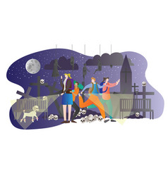 dark tourism people graveyard vector image