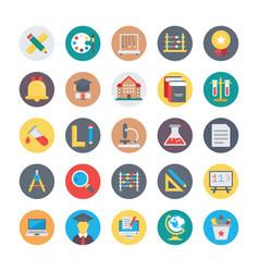 Education flat circular icons 1 vector