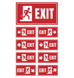 Emergency fire exit sign set exit door label vector