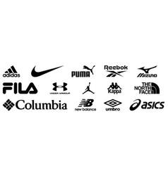 Et popular sportswear manufactures logos vector