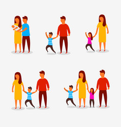 family characters happy parents couple vector image
