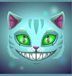 Fantasy scary smiling cat face vector
