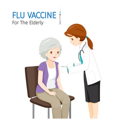 Female doctor injecting flu vaccine for elderly vector