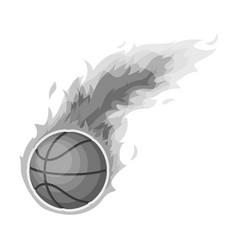 fireballbasketball single icon in monochrome vector image