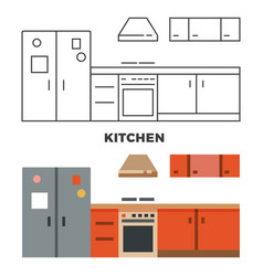 flat kitchen concept isolated on white background vector image