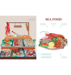 flat seafood market concept vector image