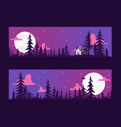 forest pine tree banner with night scene vector image