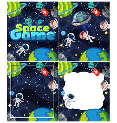 Four background scenes with space theme vector