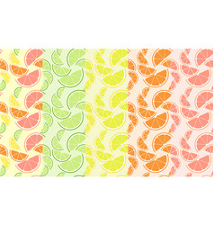 fresh citrus seamless pattern set summer slices vector image