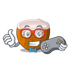 gamer cartoon beverage coconuts on the beach vector image