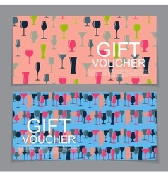 Gift Voucher Template with Alcoholic Glass vector