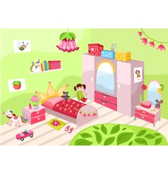 Girls pink room vector image