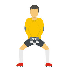 goalkeeper with ball icon flat style vector image