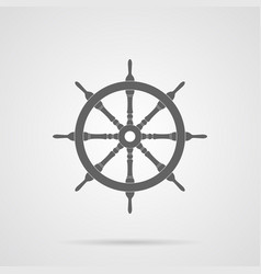 gray steering wheel flat icon vector image