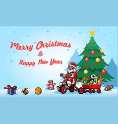 Greeting christmas santa claus ride bicycle next vector