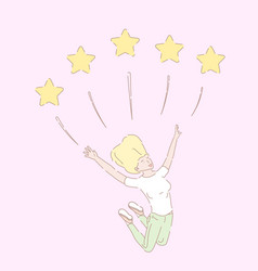 hand drawn style five star vector image