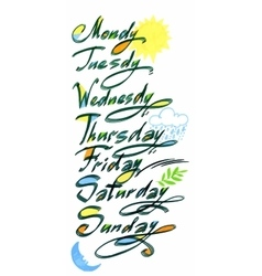 Handwritten days of the week Monday Tuesday vector image