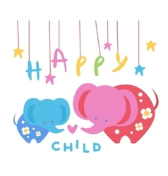 Happy Child Backdrop With Elephants vector image
