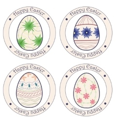 Happy Easter vintage stickers with eggs vector image