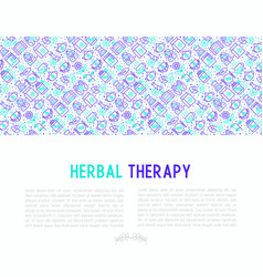 herbal therapy concept with thin line icons vector image