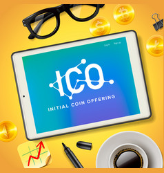 ico initial coin offering business internet vector image