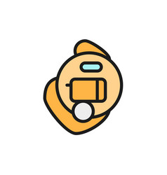 Intra ear hearing aid flat color line icon vector