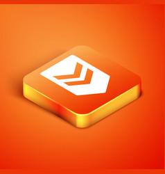 Isometric chevron icon isolated on orange vector