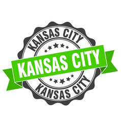 Kansas city round ribbon seal vector