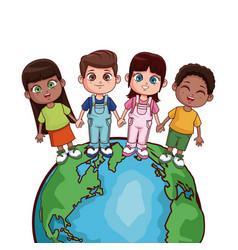 kids saving world vector image