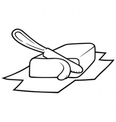 Knife cutting butter vector