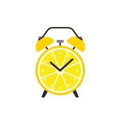 lemon slice alarm clock concept flat design vector image