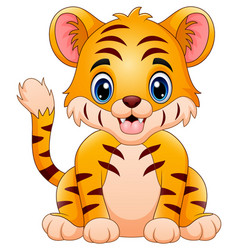 Little tiger make a happy vector
