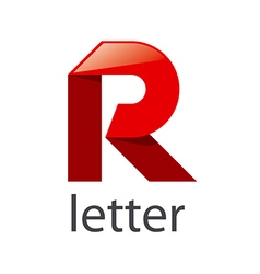 Logo red ribbons in shape letter r vector
