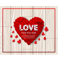 Love text white color with big heart on wood vector