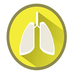 Lungs flat icon with long shadow vector image