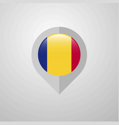 Map navigation pointer with romania flag design vector