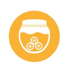 Mason jar with oranges isolated icon vector