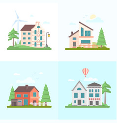 Nice buildings - set of modern flat design style vector