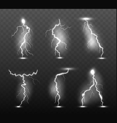 night lightning glow stormy weather light effects vector image