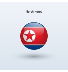 North Korea round flag vector image