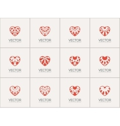 Ornamental Hearts Logos vector