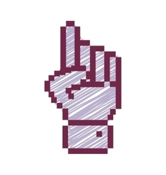 outline pixelated hand pointing up with stripeds vector image