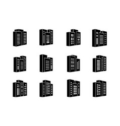 perspective icons buildings and company set bank vector image