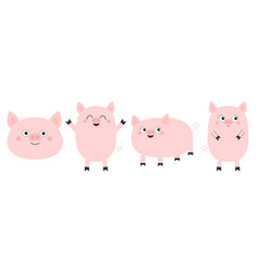 pig piglet set line cute cartoon funny baby vector image