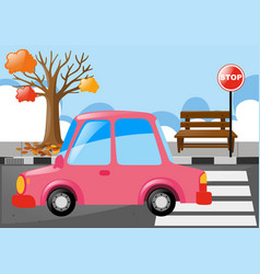 Pink car on the road vector