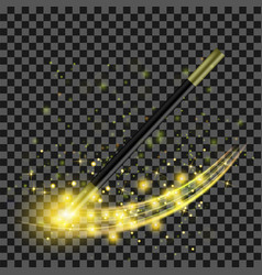 realistic magic wand with yellow starry lights vector image