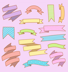 ribbon banner colorful set hand draw doodle vector image