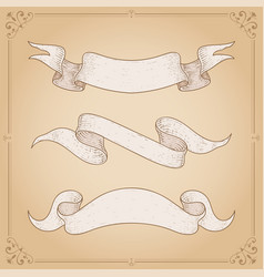 ribbon scrolls on brown vector image
