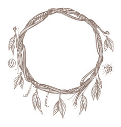 Round frame made of branches with feathers and vector