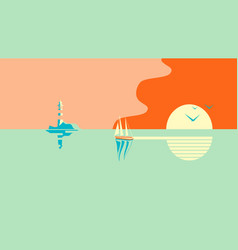 Sailboat or boat floats in sea at sunset vector